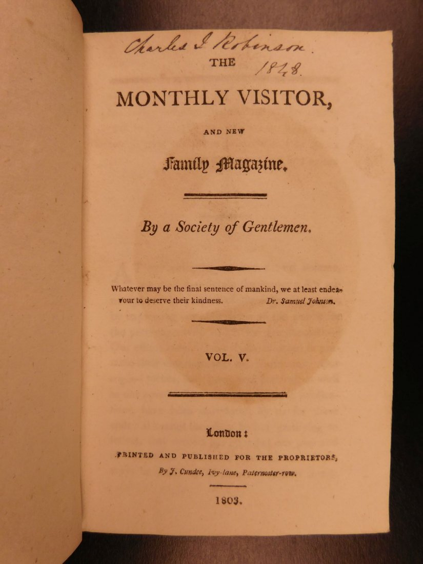 1803 Monthly Visitor & New Family Magazine London - 3