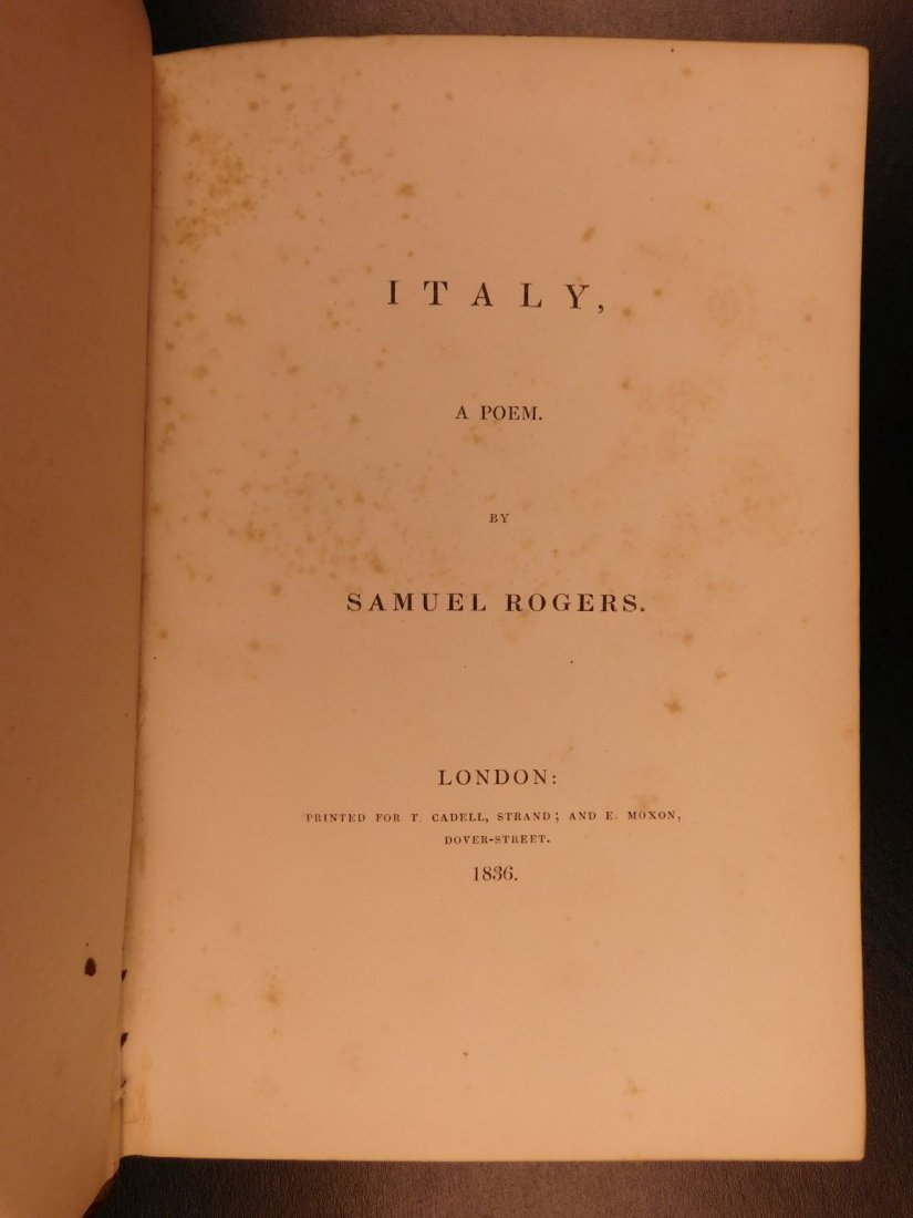 1836 EXQUISITE Samuel Rogers ITALY Poem English Poetry - 2