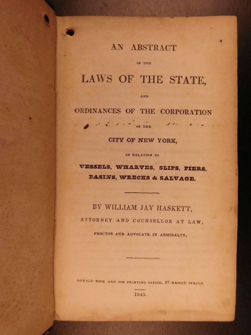 1845 NEW YORK Marine Laws Ships Wharfs Harbors Boats - 3