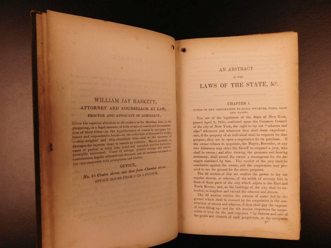 1845 NEW YORK Marine Laws Ships Wharfs Harbors Boats - 5