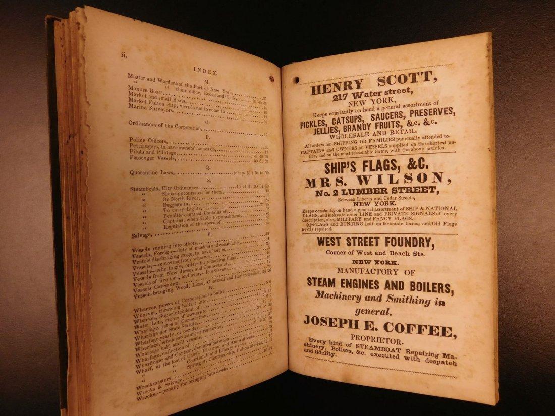 1845 NEW YORK Marine Laws Ships Wharfs Harbors Boats - 8