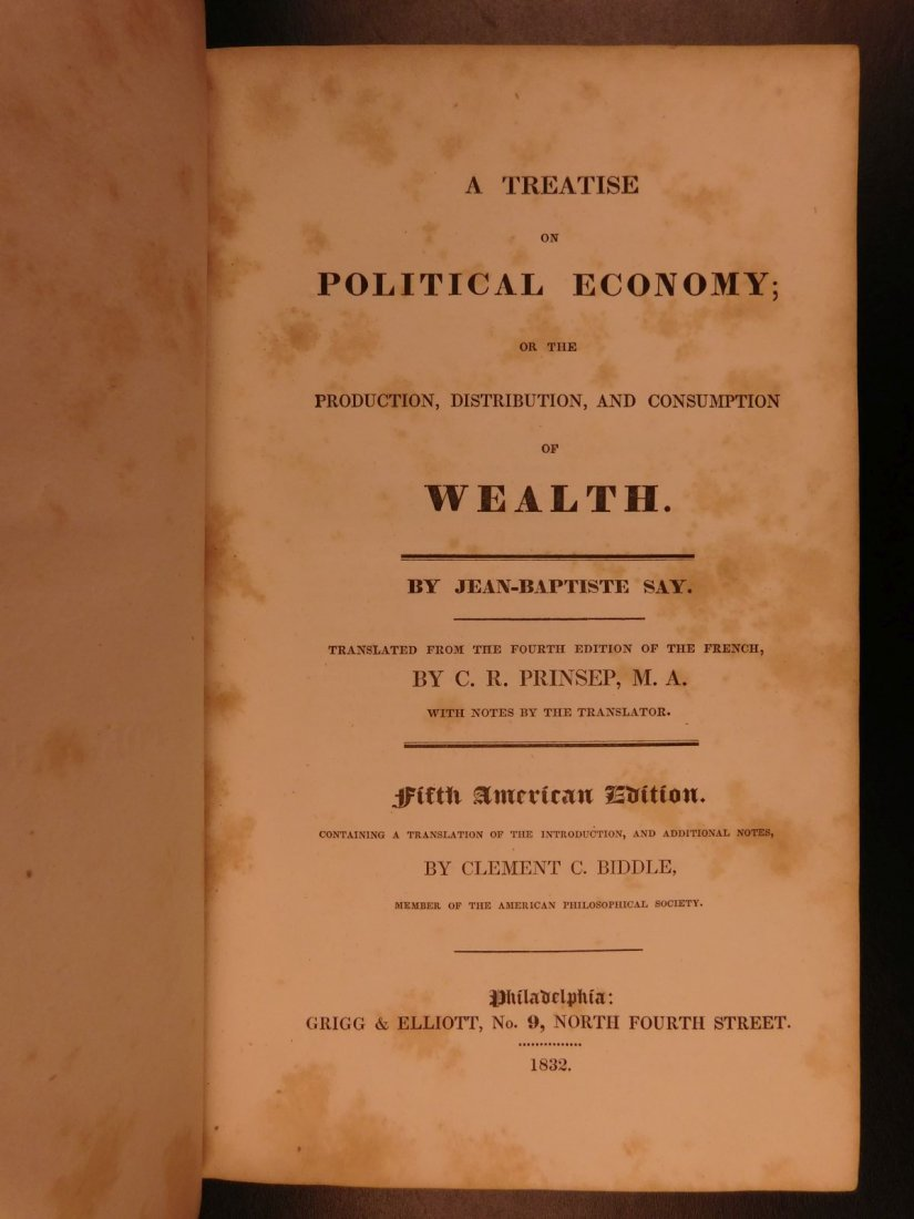 1832 Jean Baptiste SAY Economics Finance Supply Demand - 2