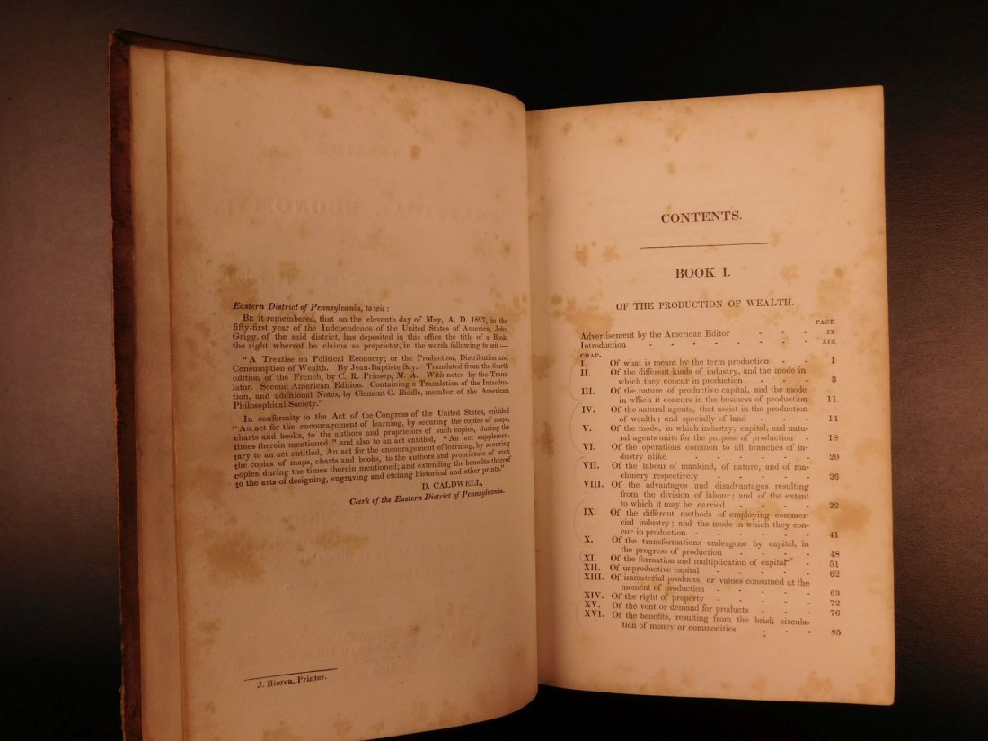 1832 Jean Baptiste SAY Economics Finance Supply Demand - 3