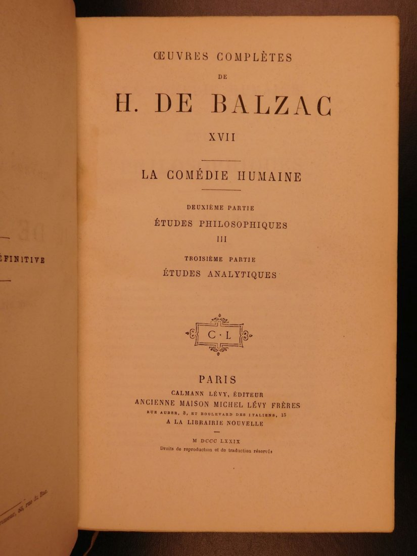 1875 Complete Works of Honore de Balzac French - 9