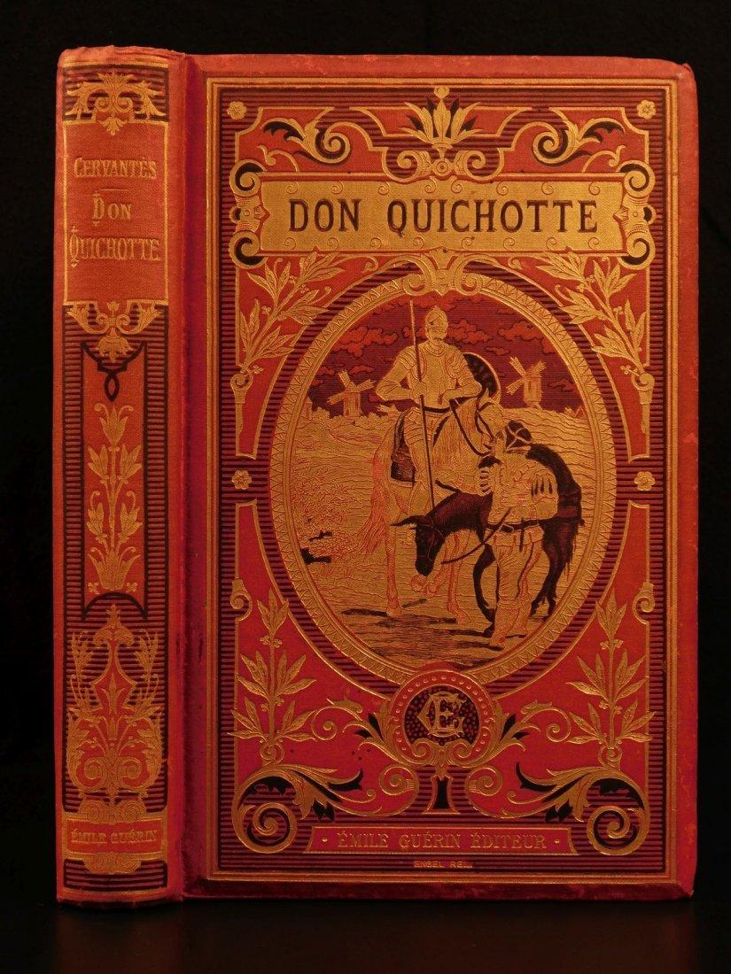 1880 EXQUISITE Don Quixote Cervantes Engel BINDING