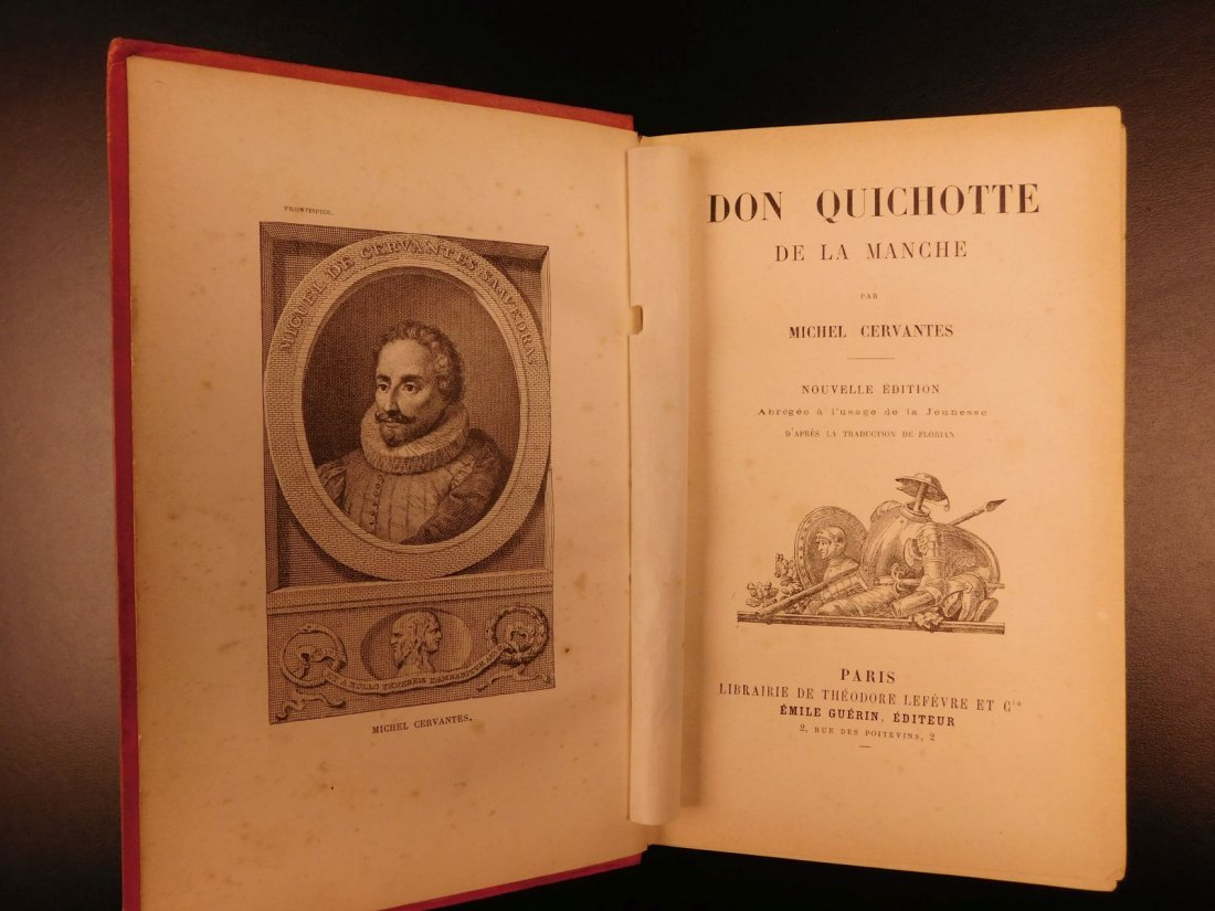 1880 EXQUISITE Don Quixote Cervantes Engel BINDING - 2