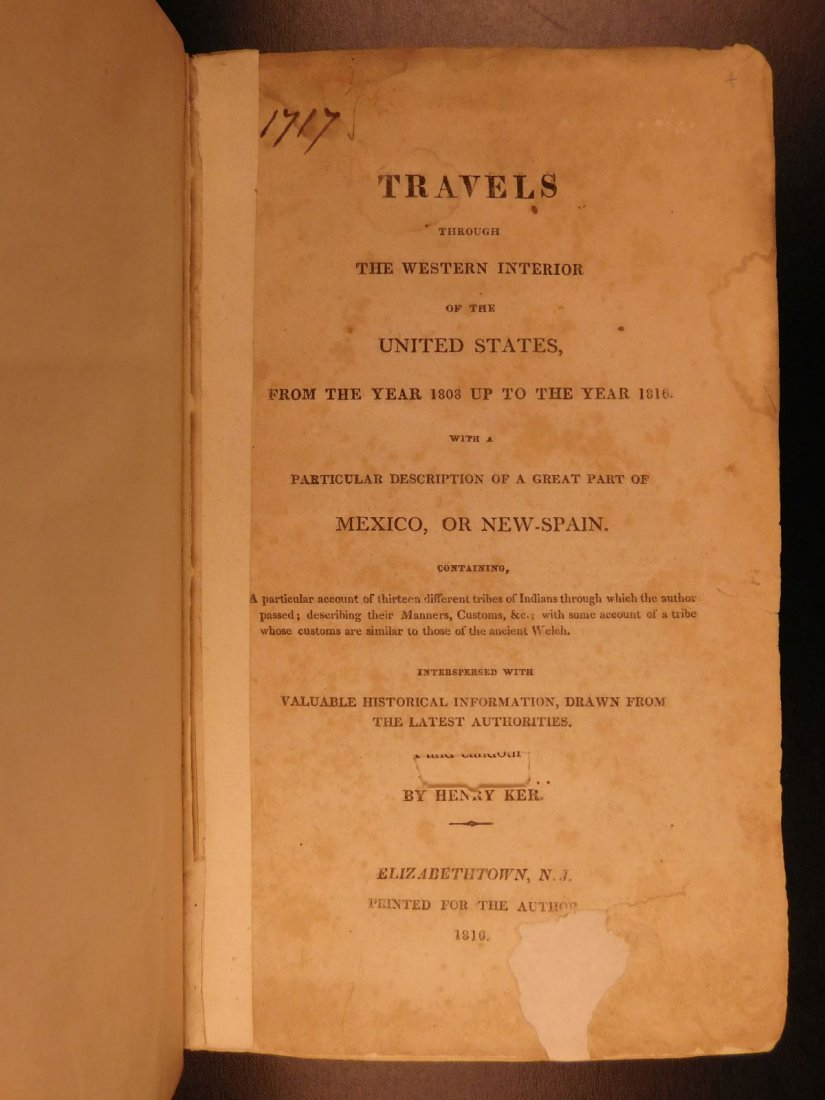 1816 Ker Travels Through United States Native American - 2