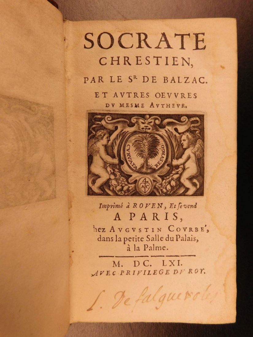 1661 Guez de Balzac Christian Socrates Essays & Letters - 2