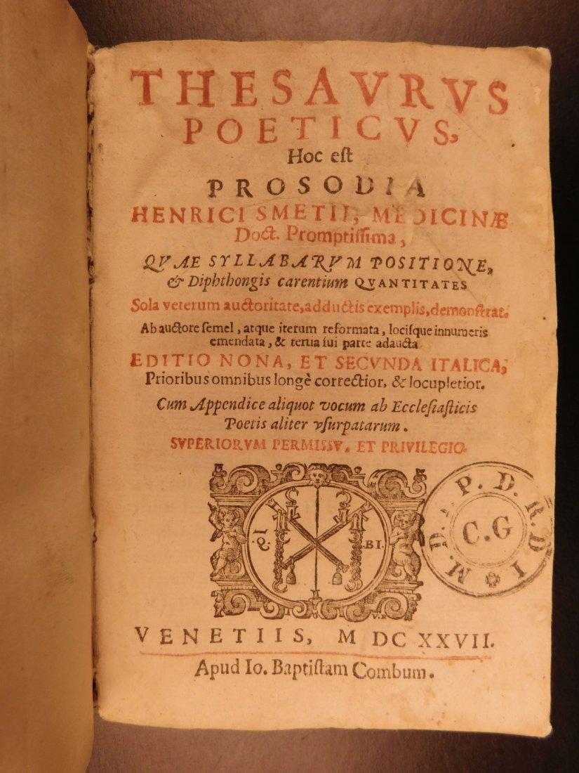 1627 Thesaurus Poeticus Smet Prosody Dictionary - 2