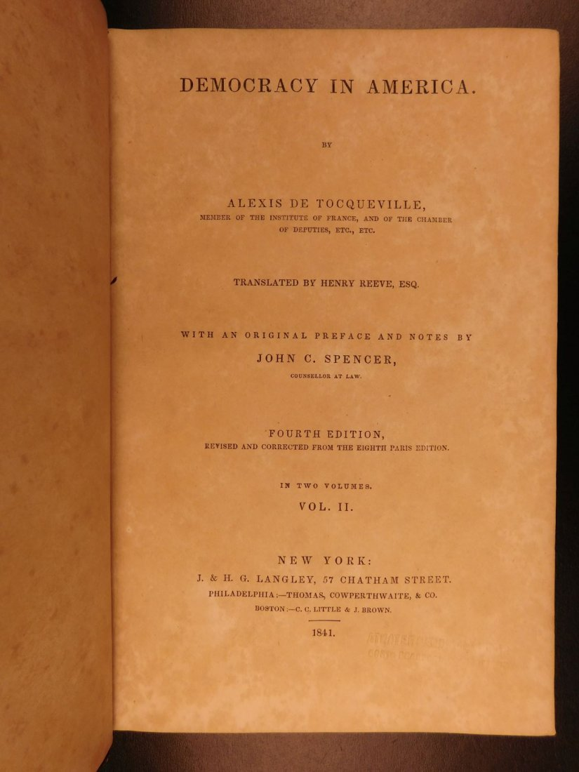 1841 Democracy in America Alexis de Tocqueville - 8
