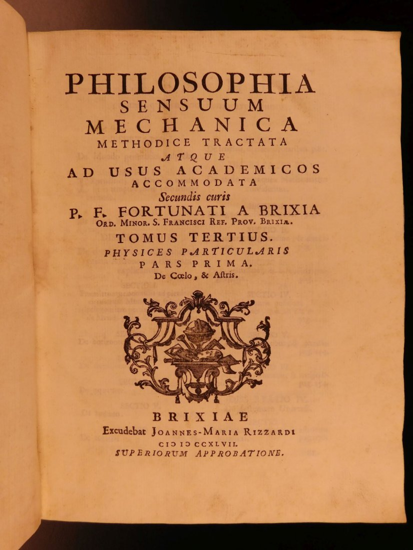 1747 Fortunati da Brescia Sensuum Mechanica Astronomy - 2
