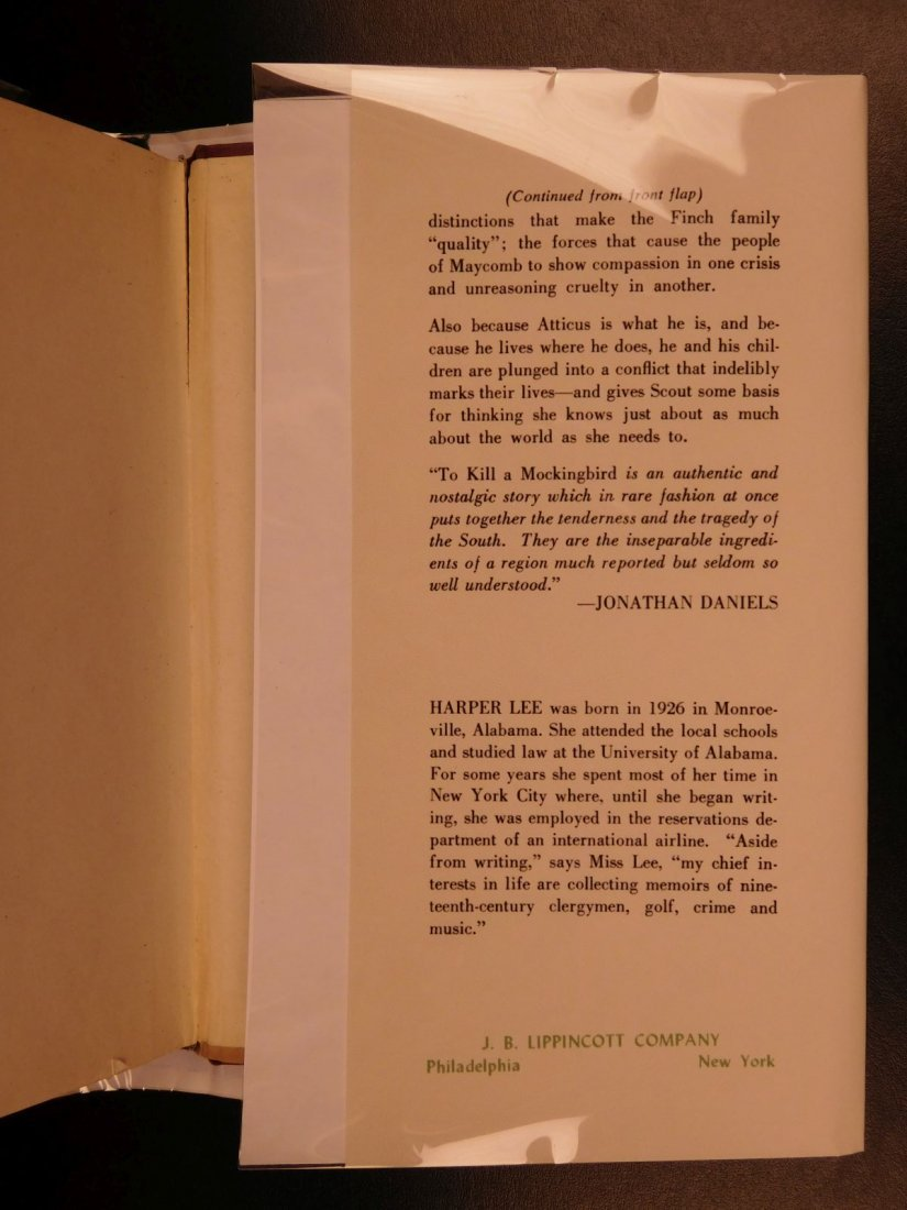 1960 Stated First Edition To Kill A Mockingbird - 3