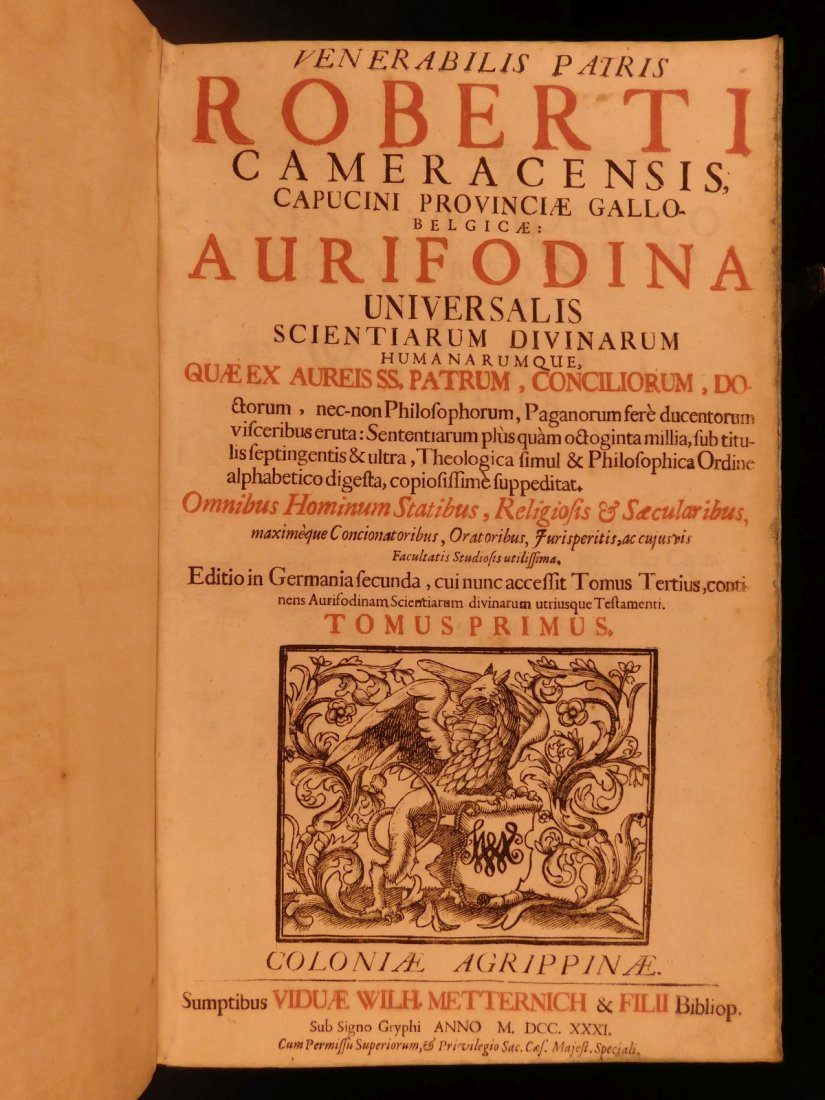 1731 HUGE FOLIO Church Fathers Aurifodina Universalis - 6