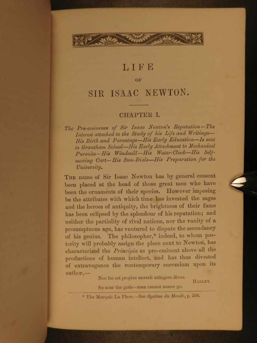 1855 EXQUISITE Life of ISAAC NEWTON Science Mathematics - 6