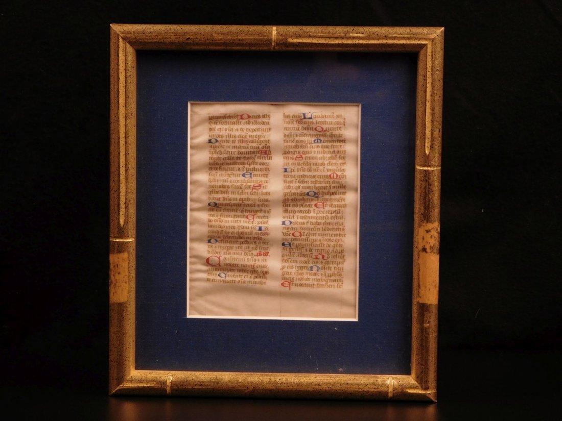 1400s Medieval Handwritten Manuscript FRAMED PSALMS