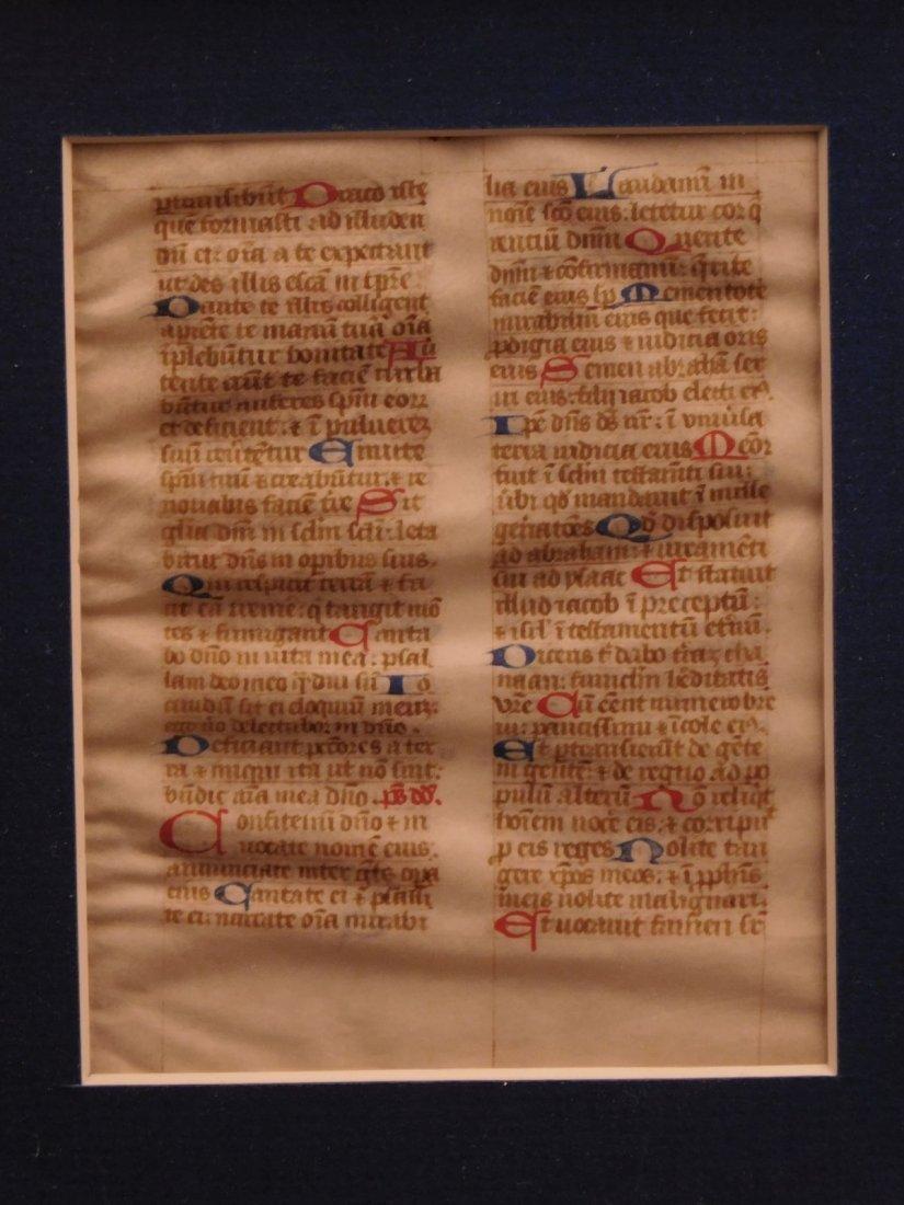 1400s Medieval Handwritten Manuscript FRAMED PSALMS - 2