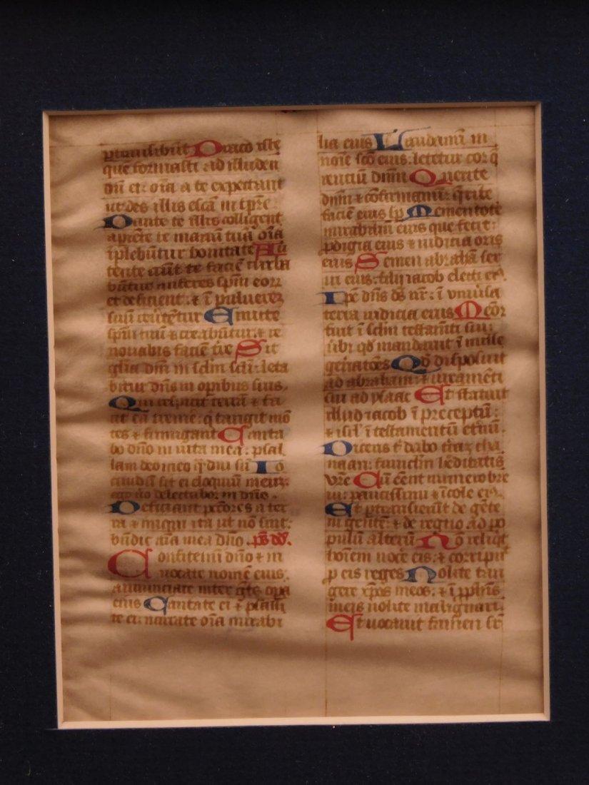 1400s Medieval Handwritten Manuscript FRAMED PSALMS - 3
