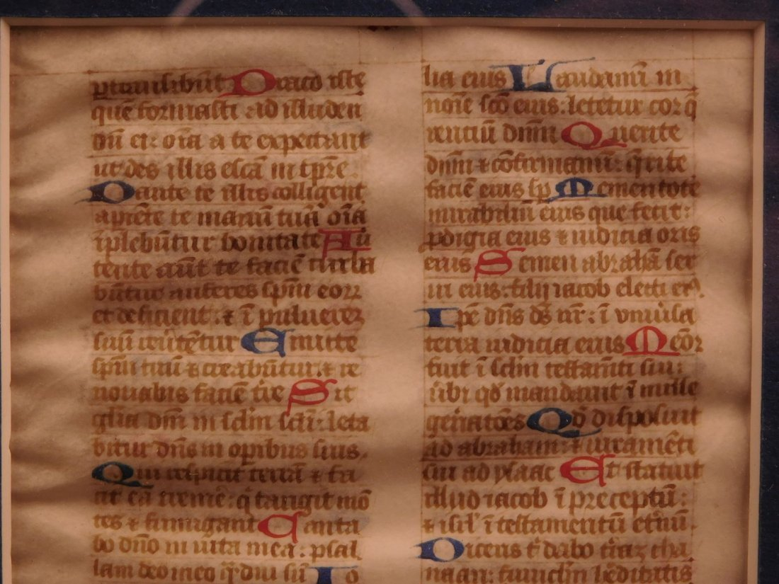 1400s Medieval Handwritten Manuscript FRAMED PSALMS - 4