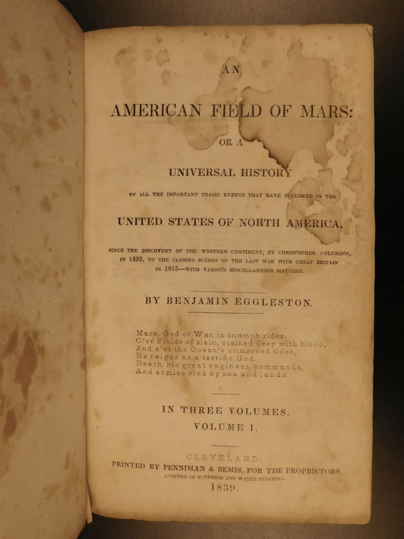 1839 American Field of Mars Indian WAR & Discovery of - 2
