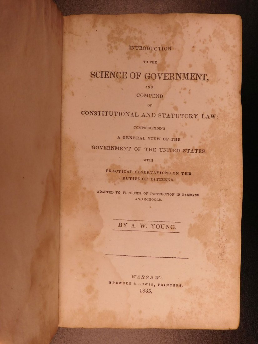 1835 1ed Americana Science of Government Constitution - 2