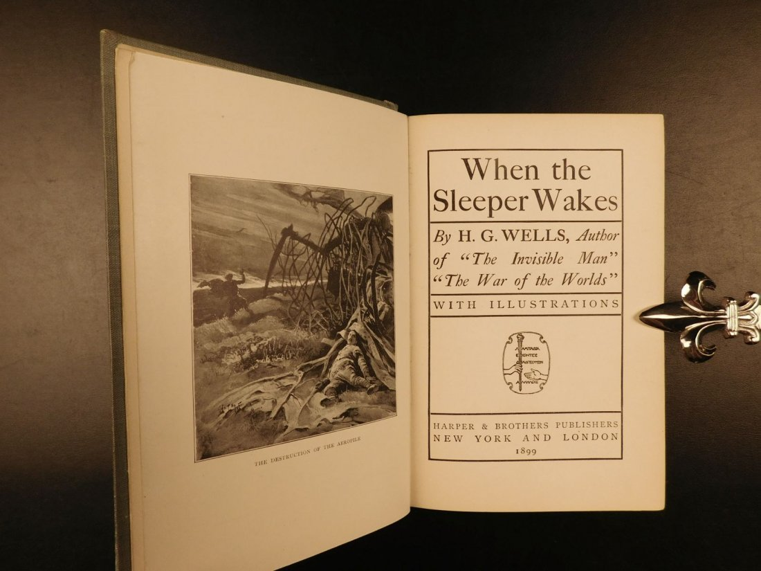 1899 1st US ed When the Sleeper Wakes HG Wells Dystopia - 2
