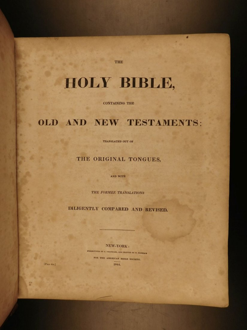 1844 King James Holy BIBLE New York Old & New Testament - 3