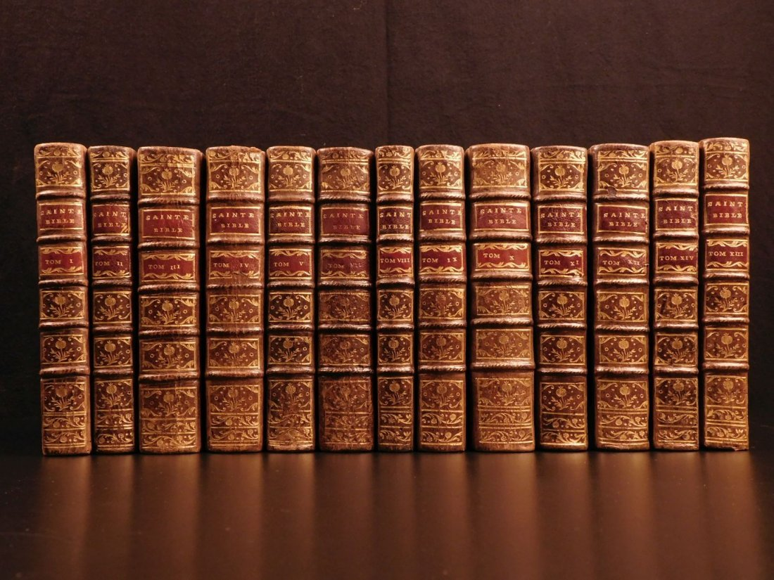 1742 EXQUISITE French Holy Bible Biblia Sacra + SACY Co