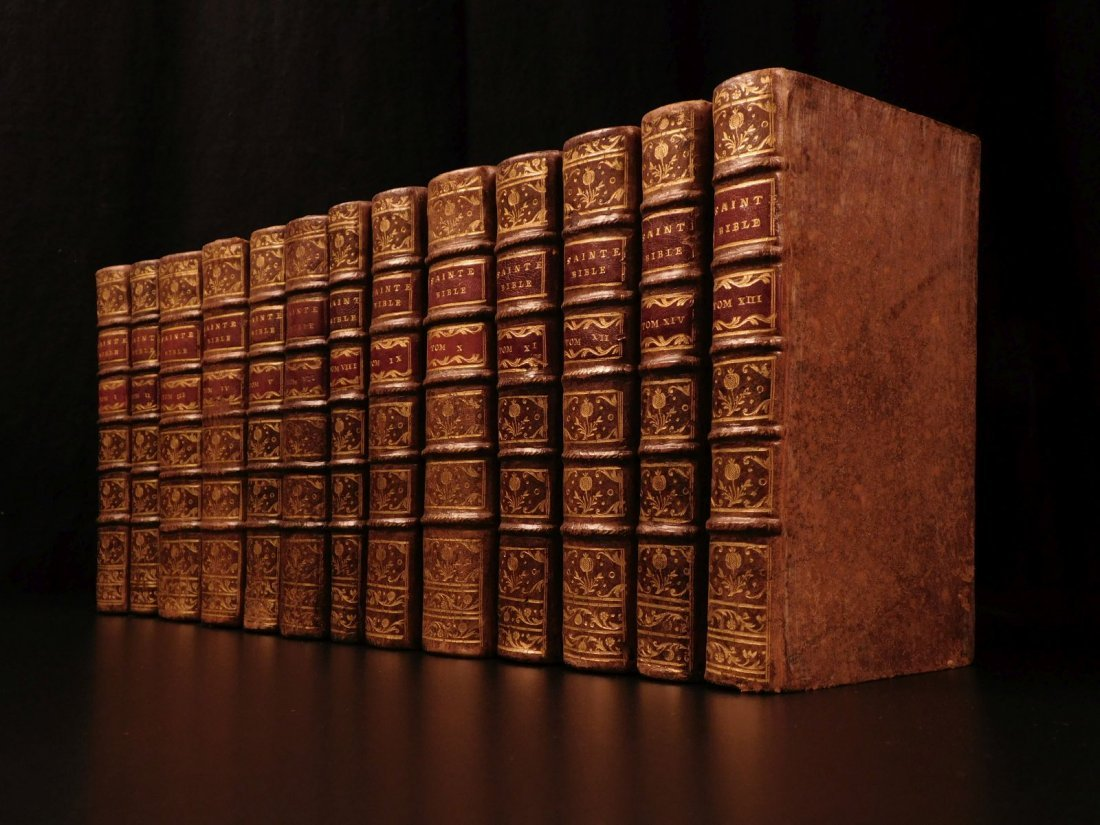 1742 EXQUISITE French Holy Bible Biblia Sacra + SACY Co - 2