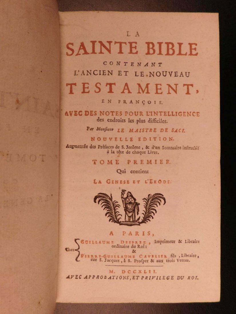 1742 EXQUISITE French Holy Bible Biblia Sacra + SACY Co - 3