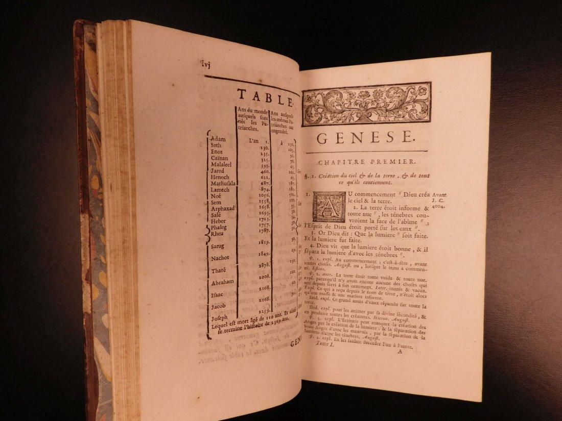 1742 EXQUISITE French Holy Bible Biblia Sacra + SACY Co - 5
