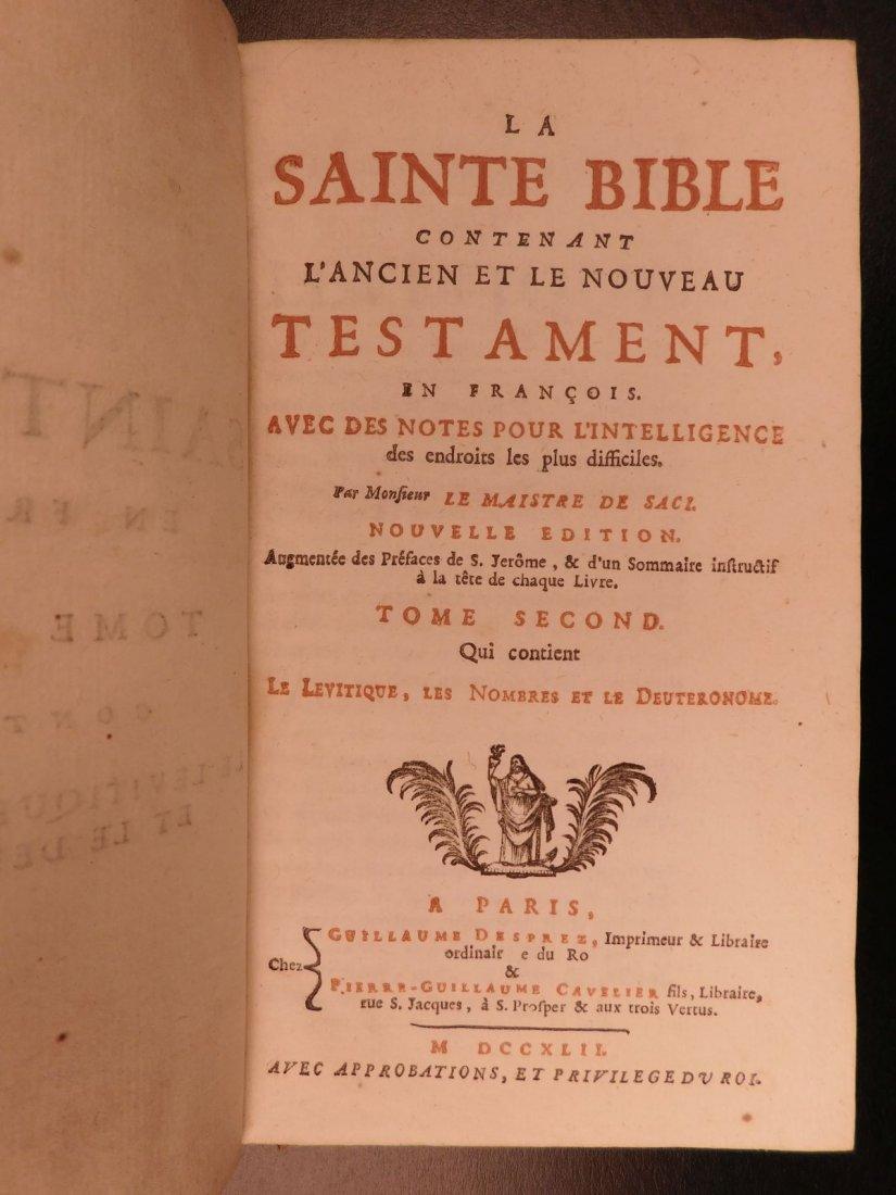 1742 EXQUISITE French Holy Bible Biblia Sacra + SACY Co - 6