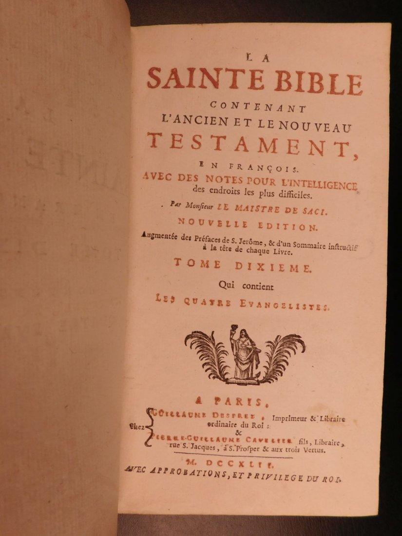 1742 EXQUISITE French Holy Bible Biblia Sacra + SACY Co - 7