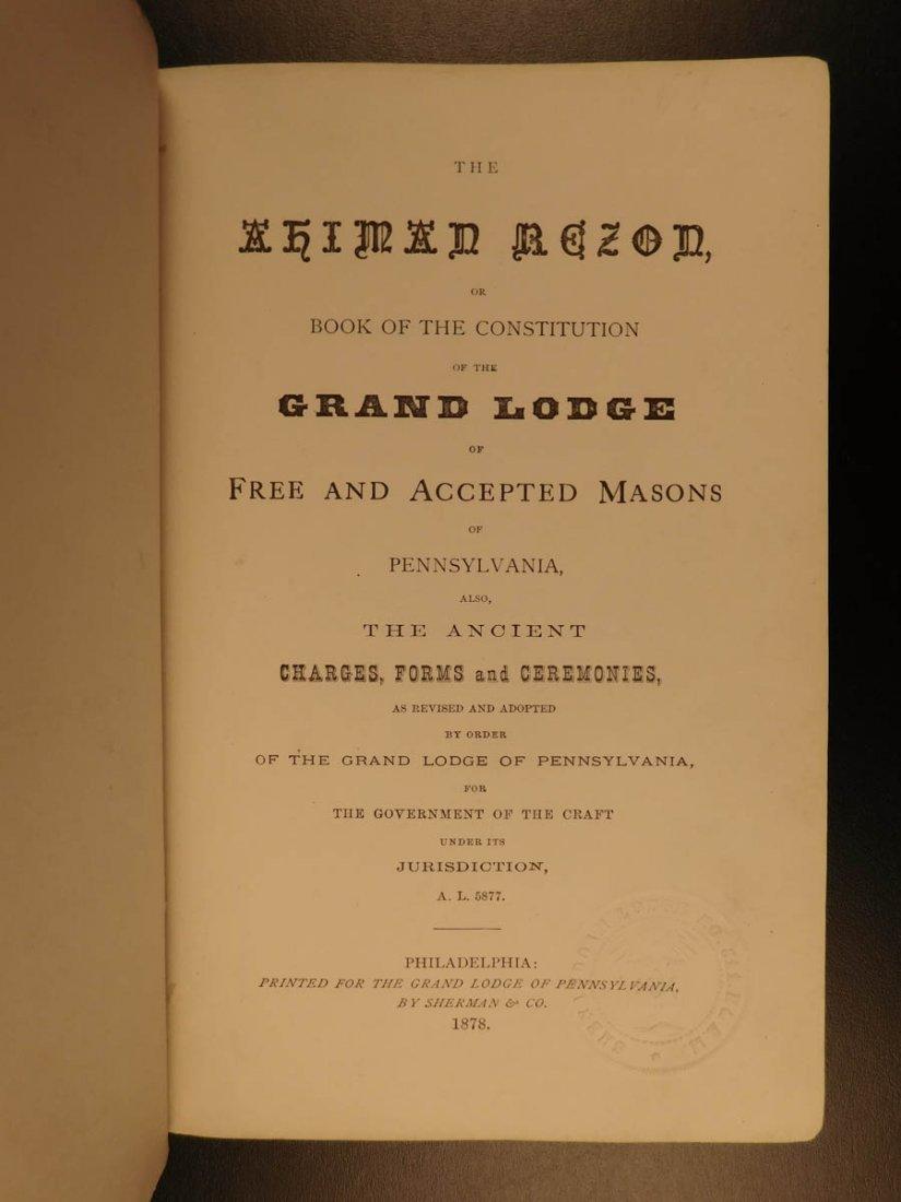 1878 Ahiman Rezon Freemason Guide Grand Lodge Masonic - 2