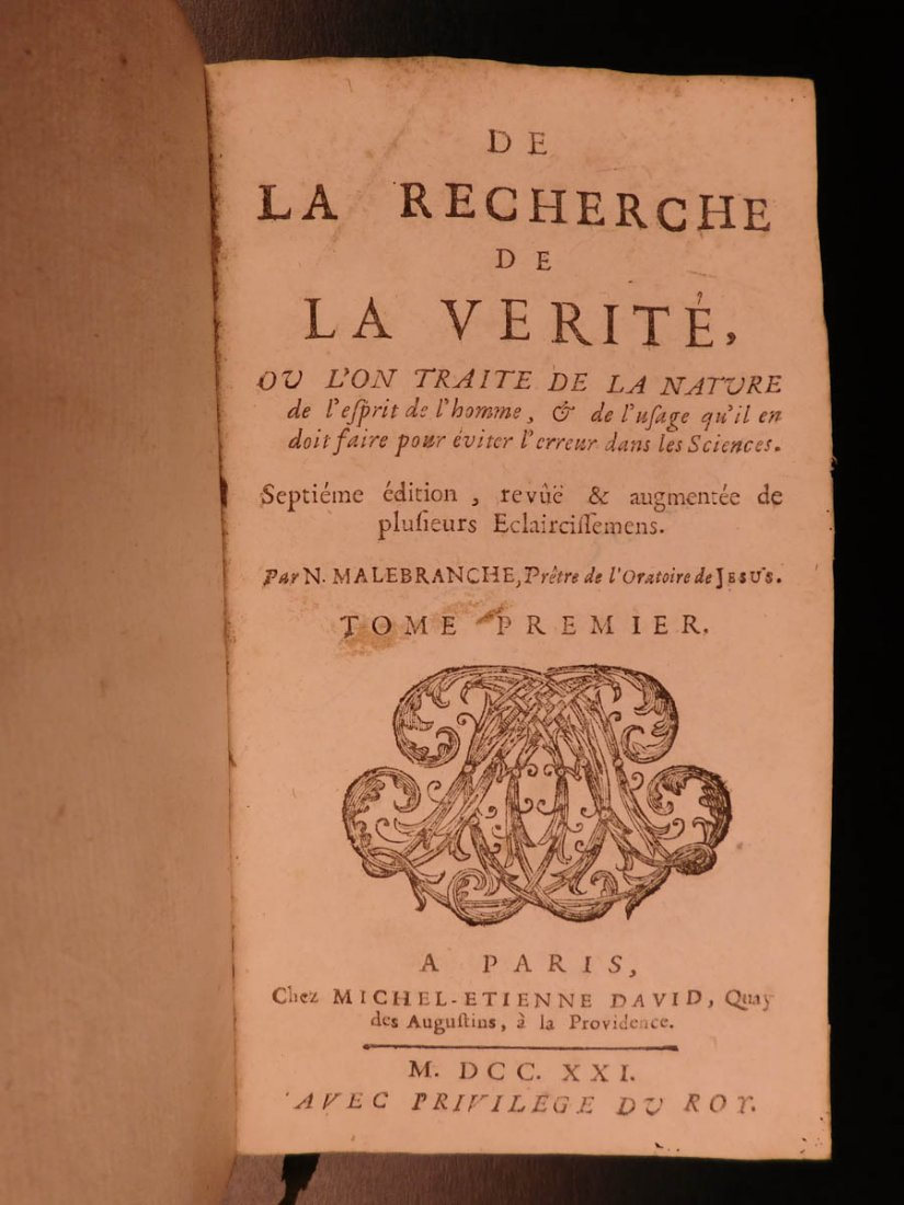 1721 Malebranche Philosophy Search After Truth Nature - 2