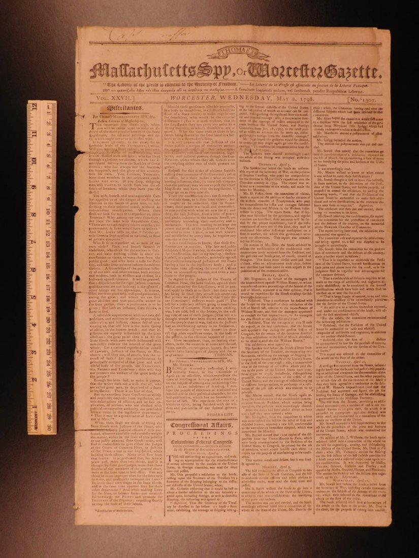 1798 Massachusetts Spy Isaiah Thomas Newspaper American
