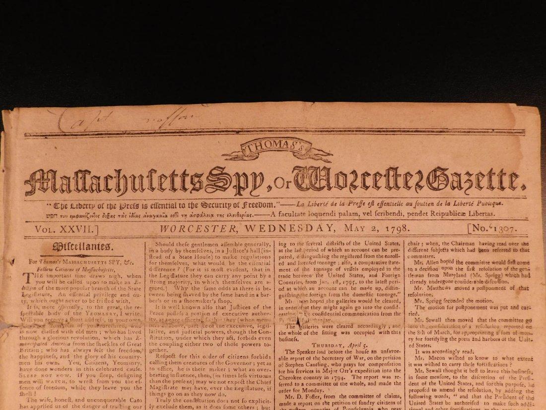 1798 Massachusetts Spy Isaiah Thomas Newspaper American - 2