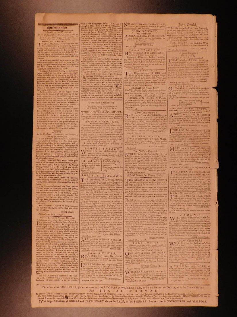 1798 Massachusetts Spy Isaiah Thomas Newspaper American - 4