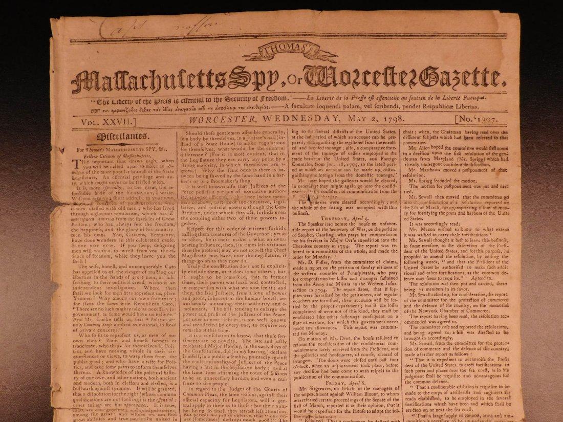 1798 Massachusetts Spy Isaiah Thomas Newspaper American - 5