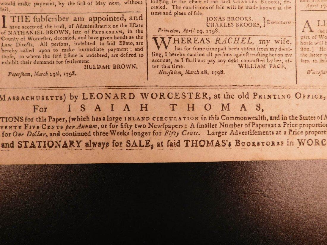 1798 Massachusetts Spy Isaiah Thomas Newspaper American - 6