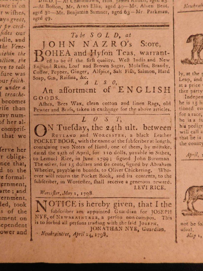 1798 Massachusetts Spy Isaiah Thomas Newspaper American - 9