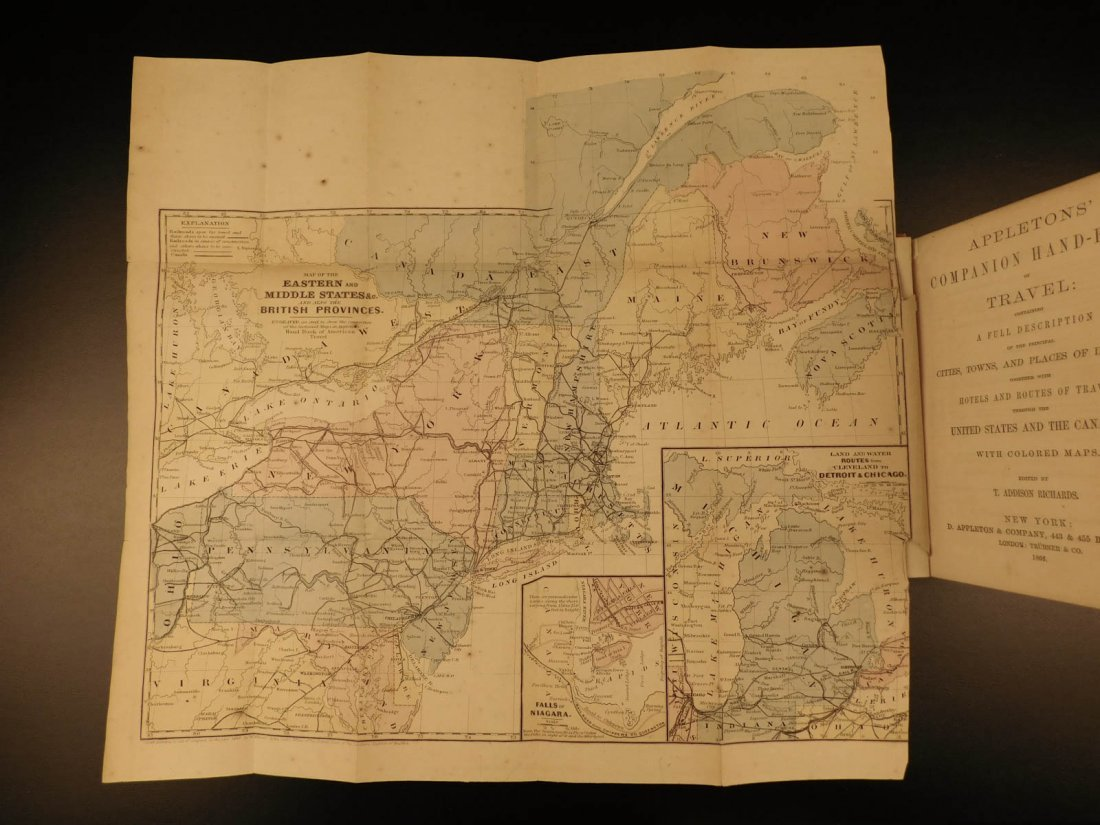 1866 MAPS Atlas Appleton Companion Travel Handbook - 3