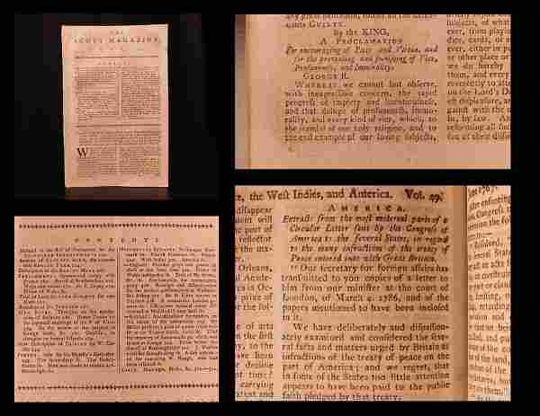 1787 Early American Thirteen Colonies Benjamin Franklin