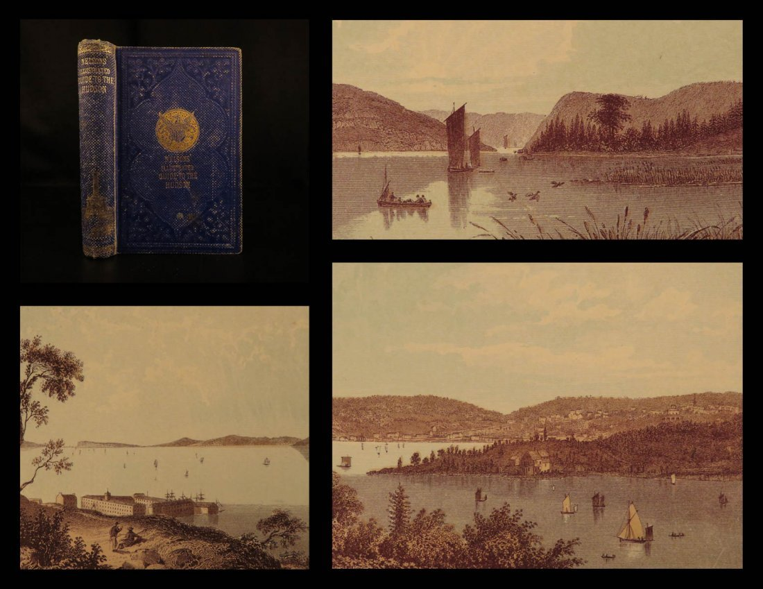 1860 1ed Hudson River Color Illustrated Guide Albany
