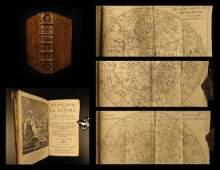 1739 Astronomy Galileo Telescope Illustrated Zodiac MAP
