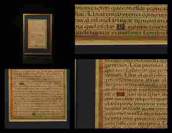 1500s Handwritten Manuscript Spanish Illuminated Gold