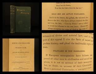 1869 1ed POLYGAMY History & Philosophy Marriage