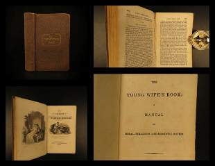 1838 Young Wife's Book Housekeeping Cooking Marriage