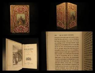 1860 BEAUTIFUL BINDING Life of Saint Genevieve Paris