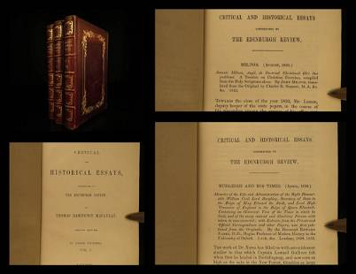 1846 EXQUISITE Macaulay Essays Milton Machiavelli Byron