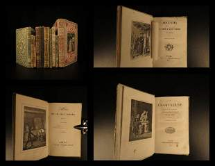 1854 RARE 10 Book Lot Decorative Bindings Fables